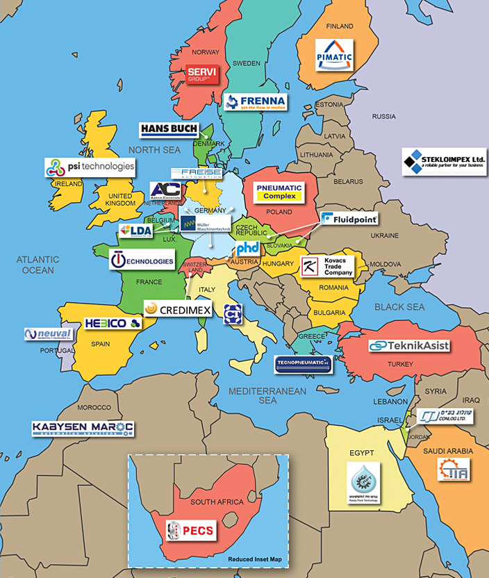 Click to expand PHD's European Distributor Network map...