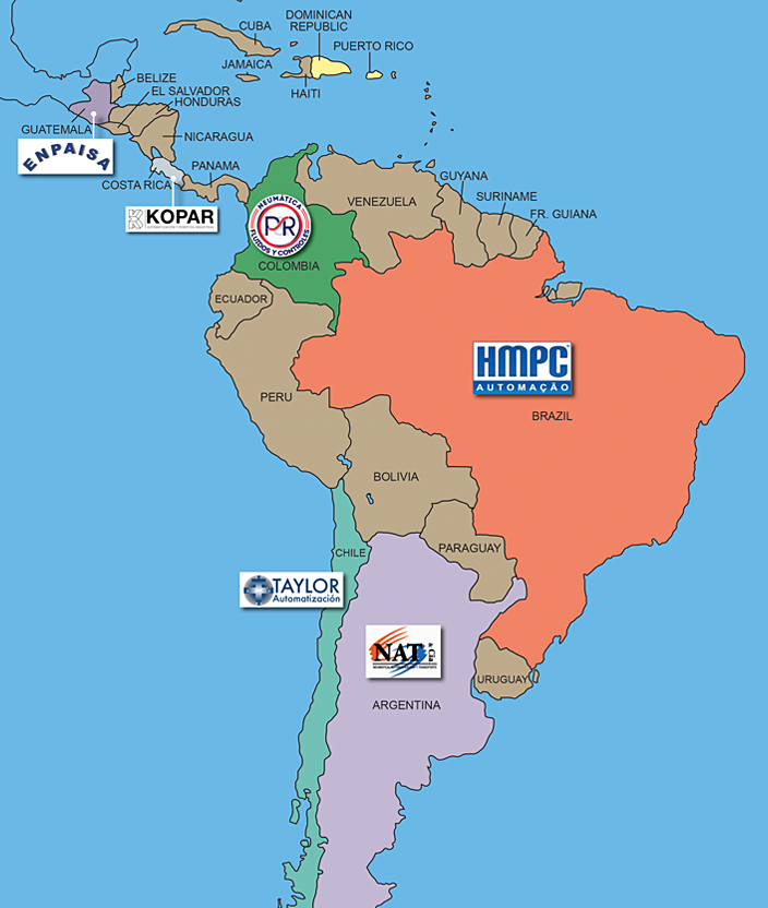 Click to expand PHD's South American Distributor Network map...